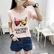 Mujer Simple Casual/Diario Verano Camiseta,Escote Redondo Estampado Manga Corta Algodón Otro Medio