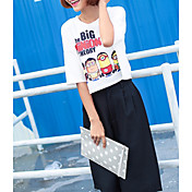 Mujer Bonito Noche Camiseta,Escote Redondo Estampado Animal Letra Media Manga Algodón