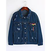 レディース お出かけ 冬 デニムジャケット,シンプル シャツカラー ソリッド レギュラー コットン 長袖