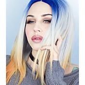 Peluca Lace Front Sintéticas Recto Pelo sintético Entradas Naturales Azul Peluca Mujer Media Encaje Frontal