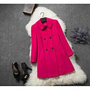 レディース お出かけ 秋 コート,ストリートファッション シャツカラー ソリッド ロング コットン 長袖