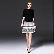 女性用 ワーク Tシャツ 幾何学模様 カラーブロック スカート