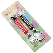 2 piezas / set de acero inoxidable niños tenedor y cuchara vajilla oferta de cena