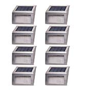 8本の太陽光発電2誘導ワイヤレスステンレス階段ステップ白い光の階段パスの景色の庭の床の壁パティオランプ近代的な固定具