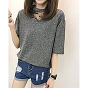 レディース カジュアル/普段着 Tシャツ,シンプル Vネック ソリッド コットン 半袖