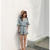 レディース カジュアル/普段着 夏 Tシャツ(21) パンツ スーツ,シンプル Vネック ソリッド 半袖