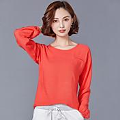Mujer Tejido Oriental Noche Camiseta,Escote Redondo Un Color Manga Larga Lino