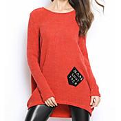 Mujer Regular Pullover Casual/Diario Un Color Escote Redondo Manga Larga Algodón Primavera Otoño Medio Microelástico