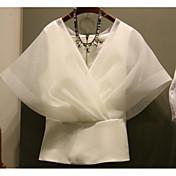 レディース カジュアル/普段着 夏 シャツ,シンプル Vネック ソリッド コットン 半袖 ミディアム
