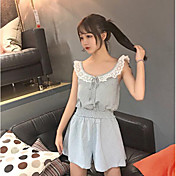 Mujer Simple Noche Verano T-Shirt Pantalón Trajes,Escote en U Un Color Manga Corta