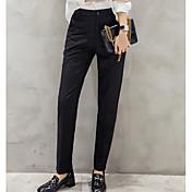 Mujer Chic de Calle Tiro Medio Microelástico Delgado Chinos Pantalones,Un Color Verano