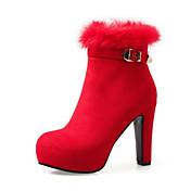 Mujer Zapatos Ante Otoño Invierno Confort Innovador Botas de Moda Botas hasta el Tobillo Botas Tacón Robusto Dedo Puntiagudo