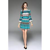eBayのAliexpressのヨーロッパやアメリカのファッションVネック結ぶホーンスリーブドレススーツ
