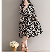Mujer Corte Ancho Vestido Noche Casual/Diario Floral Escote Redondo Midi Manga 3/4 Algodón Primavera Otoño Tiro Medio Microelástico Medio