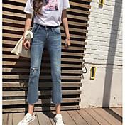 Mujer Casual Tiro Alto Microelástico Corte Recto Vaqueros Pantalones,Un Color Poliéster Otoño
