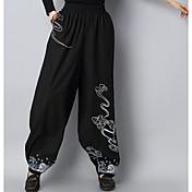 Mujer Tejido Oriental Microelástico Chinos Pantalones,Chinos Un Color Bordado