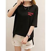 レディース カジュアル/普段着 夏 Tシャツ,シンプル ラウンドネック 刺繍 レタード コットン 半袖 ミディアム