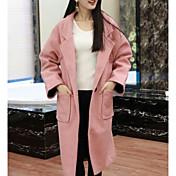 レディース カジュアル/普段着 秋 冬 コート,シンプル シャツカラー ソリッド ロング コットン 長袖