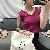 Mujer Regular Chaleco Diario Casual,Un Color Escote Redondo Sin Mangas Piel Sintética Otoño Medio Microelástico