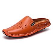 Hombre Zapatos Cuero Verano Confort Zuecos y pantuflas Para Casual Blanco Negro Naranja