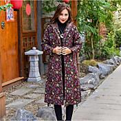 レディース 日常 お出かけ 冬 秋 コート,ストリートファッション フード付き フラワープリント ロング リネン