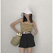 Mujer Sencillo Tiro Alto Microelástico Perneras anchas Pantalones,Corte Recto Un Color