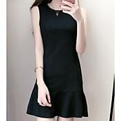 Mujer Línea A Vestido Casual/Diario Noche Simple,Un Color Escote Redondo Sobre la rodilla Sin Mangas Algodón Verano Tiro Medio