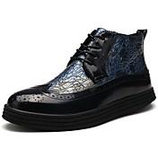 Hombre Zapatos Cuero real Cuero de Napa Primavera Otoño Confort Botas Para Casual Negro Amarillo Azul
