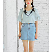 Mujer Bonito Casual/Diario Primavera Otoño Camiseta,Escote Redondo Un Color Manga 3/4 Seda Algodón Fino
