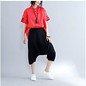 Mujer Sencillo Tiro Alto Inelástica Perneras anchas Pantalones,Perneras anchas Un Color