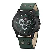 Hombre Reloj de Moda Cuarzo Cuero Auténtico Banda Casual Negro Marrón Verde Caqui