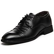 Hombre Zapatos Semicuero PU Primavera Otoño Confort Oxfords Con Cordón Para Casual Negro