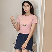 レディース カジュアル/普段着 Tシャツ,キュート ラウンドネック 刺繍 コットン 半袖