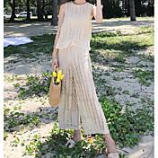 Mujer Simple Casual/Diario Verano Blusa Pantalón Trajes,Escote Redondo Un Color Sin Mangas Microelástico