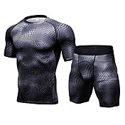 Hombre Camiseta de running con shorts Manga Corta Secado rápido Transpirabilidad Eslático Sets de Prendas para Jogging Delgado Blanco
