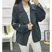 女性用 日常 秋 レギュラー デニムジャケット, シンプル カジュアル ピークドラペル ソリッド コットン