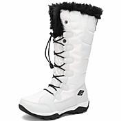 zapatos de mujer lienzo otoño invierno botas de nieve botas de combate botas punta redonda rodilla botas altas con cordones para el