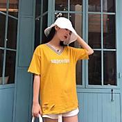 Mujer Simple Bonito Casual/Diario Camiseta,Escote en Pico Letra Manga Corta Algodón