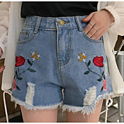 Mujer Casual Tiro Medio Microelástico Delgado Vaqueros Shorts Pantalones,Bordado Primavera