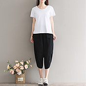 Mujer Casual Tiro Alto Rígido Pantalones Harén Chinos Pantalones,Un Color Verano