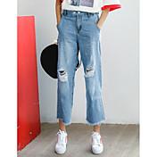 レディース シンプル ストリートファッション ハイライズ ルーズ ストレート 非弾性 ジーンズ パンツ 引き裂かれました ソリッド