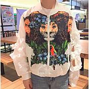 レディース お出かけ 秋 ジャケット,ストリートファッション ラウンドネック フラワープリント レギュラー その他 長袖