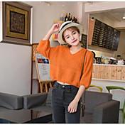 Mujer Regular Pullover Casual/Diario Un Color Escote en Pico Manga Larga Algodón Primavera Invierno Medio Microelástico