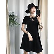 Mujer Pequeño Negro Vestido Noche Un Color Escote en Pico Sobre la rodilla Sin Mangas Otro Verano Tiro Medio Microelástico Opaco