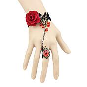 Joyas Gosurori Anillo Inspiración Vintage Mujer Rojo Accesorios de Lolita Encaje Pulsera Anillo No tejido Gemas Artificiales Legierung
