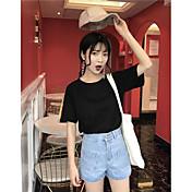 Mujer Chic de Calle Noche Verano Camiseta,Escote Redondo Un Color Manga Corta Algodón Fino