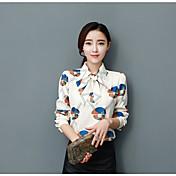レディース カジュアル/普段着 シャツ,シンプル シャツカラー 幾何学模様 コットン 長袖 薄手