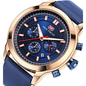 Hombre Reloj Deportivo Reloj de Moda Reloj de Pulsera Japonés Cuarzo Calendario Cronómetro Noctilucente Cuero Auténtico Banda Lujo Casual