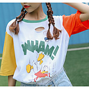 Mujer Bonito Casual/Diario Camiseta,Escote Redondo Estampado Media Manga Algodón