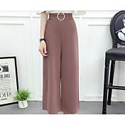 Mujer Casual Microelástico Perneras anchas Pantalones,Un Color Verano